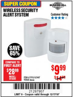 Harbor Freight Coupon WIRELESS SECURITY ALERT SYSTEM Lot No. 93068/69590/61910/62447 Expired: 12/17/18 - $9.99