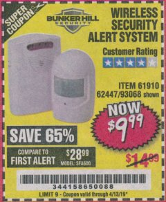 Harbor Freight Coupon WIRELESS SECURITY ALERT SYSTEM Lot No. 93068/69590/61910/62447 Expired: 4/13/19 - $9.99