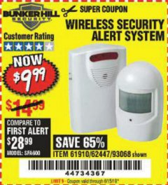 Harbor Freight Coupon WIRELESS SECURITY ALERT SYSTEM Lot No. 93068/69590/61910/62447 Expired: 6/15/19 - $9.99