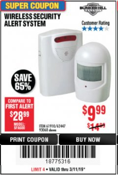 Harbor Freight Coupon WIRELESS SECURITY ALERT SYSTEM Lot No. 93068/69590/61910/62447 Expired: 3/11/19 - $9.99
