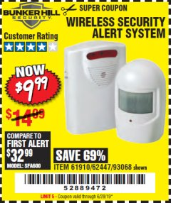 Harbor Freight Coupon WIRELESS SECURITY ALERT SYSTEM Lot No. 93068/69590/61910/62447 Expired: 6/28/19 - $9.99