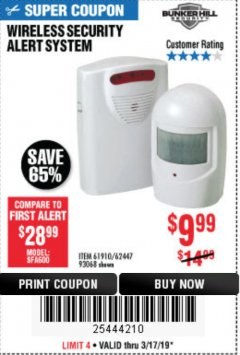Harbor Freight Coupon WIRELESS SECURITY ALERT SYSTEM Lot No. 93068/69590/61910/62447 Expired: 3/17/19 - $9.99