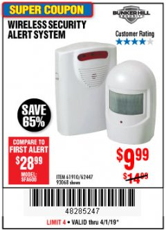 Harbor Freight Coupon WIRELESS SECURITY ALERT SYSTEM Lot No. 93068/69590/61910/62447 Expired: 4/1/19 - $9.99
