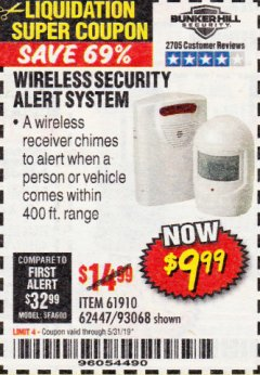 Harbor Freight Coupon WIRELESS SECURITY ALERT SYSTEM Lot No. 93068/69590/61910/62447 Expired: 3/31/19 - $9.99