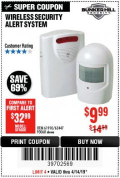 Harbor Freight Coupon WIRELESS SECURITY ALERT SYSTEM Lot No. 93068/69590/61910/62447 Expired: 4/14/19 - $9.99