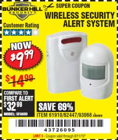 Harbor Freight Coupon WIRELESS SECURITY ALERT SYSTEM Lot No. 93068/69590/61910/62447 Expired: 8/11/19 - $9.99