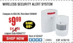 Harbor Freight Coupon WIRELESS SECURITY ALERT SYSTEM Lot No. 93068/69590/61910/62447 Expired: 4/21/19 - $9.99