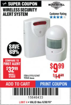 Harbor Freight Coupon WIRELESS SECURITY ALERT SYSTEM Lot No. 93068/69590/61910/62447 Expired: 6/30/19 - $9.99