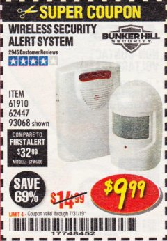 Harbor Freight Coupon WIRELESS SECURITY ALERT SYSTEM Lot No. 93068/69590/61910/62447 Expired: 7/31/19 - $9.99