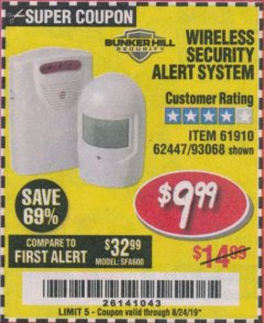 Harbor Freight Coupon WIRELESS SECURITY ALERT SYSTEM Lot No. 93068/69590/61910/62447 Expired: 8/24/19 - $9.99