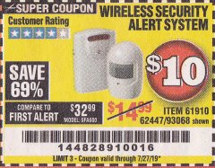 Harbor Freight Coupon WIRELESS SECURITY ALERT SYSTEM Lot No. 93068/69590/61910/62447 Expired: 7/27/19 - $0.1