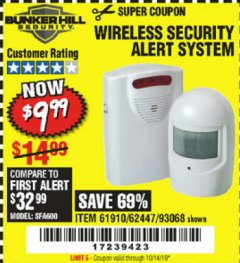Harbor Freight Coupon WIRELESS SECURITY ALERT SYSTEM Lot No. 93068/69590/61910/62447 Valid Thru: 10/14/19 - $9.99