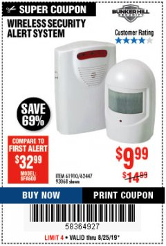 Harbor Freight Coupon WIRELESS SECURITY ALERT SYSTEM Lot No. 93068/69590/61910/62447 Expired: 8/25/19 - $9.99