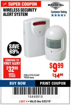 Harbor Freight Coupon WIRELESS SECURITY ALERT SYSTEM Lot No. 93068/69590/61910/62447 Expired: 9/22/19 - $9.99