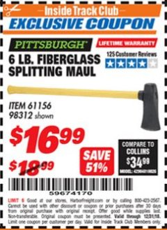 "Harbor Freight ITC Coupon 6 LB SPLITTING MAUL WITH 30"" FIBERGLASS HANDLE Lot No. 61156/98312 Expired: 12/31/18 - $16.99"