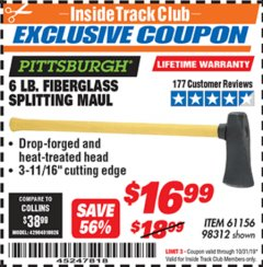 "Harbor Freight ITC Coupon 6 LB SPLITTING MAUL WITH 30"" FIBERGLASS HANDLE Lot No. 61156/98312 Expired: 10/31/19 - $16.99"