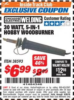Harbor Freight ITC Coupon 30 WATT 5 IN 1 HOBBY WOODBURNER Lot No. 38593 Expired: 6/30/18 - $6.99