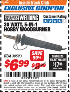 Harbor Freight ITC Coupon 30 WATT 5 IN 1 HOBBY WOODBURNER Lot No. 38593 Expired: 10/31/18 - $6.99