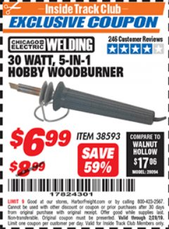Harbor Freight ITC Coupon 30 WATT 5 IN 1 HOBBY WOODBURNER Lot No. 38593 Expired: 2/28/19 - $6.99