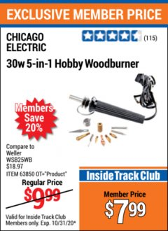 Harbor Freight ITC Coupon 30 WATT 5 IN 1 HOBBY WOODBURNER Lot No. 38593 Valid Thru: 10/31/20 - $7.99