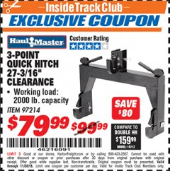 Harbor Freight ITC Coupon 3-POINT QUICK HITCH Lot No. 97214 Expired: 11/4/18 - $79.99