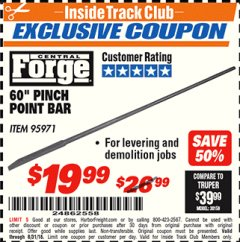 "Harbor Freight ITC Coupon 60"" PINCH POINT BAR Lot No. 95971 Expired: 8/31/18 - $19.99"