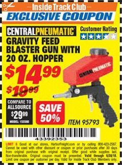 Harbor Freight ITC Coupon 20 OZ. HOPPER GRAVITY FEED SPOT BLASTER GUN Lot No. 95793 Expired: 6/30/18 - $14.99