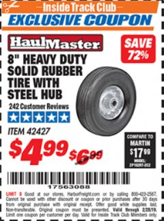 "Harbor Freight ITC Coupon 8"" HEAVY DUTY SOLID RUBBER TIRE WITH STEEL HUB Lot No. 42427 Valid Thru: 2/28/19 - $4.99"
