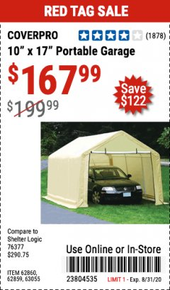 Harbor Freight Coupon COVERPRO 10 FT. X 17 FT. PORTABLE GARAGE Lot No. 62859, 63055, 62860 Expired: 8/31/20 - $167.99