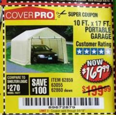 Harbor Freight Coupon COVERPRO 10 FT. X 17 FT. PORTABLE GARAGE Lot No. 62859, 63055, 62860 Expired: 9/5/18 - $169.99