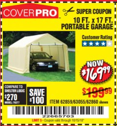 Harbor Freight Coupon COVERPRO 10 FT. X 17 FT. PORTABLE GARAGE Lot No. 62859, 63055, 62860 Expired: 10/15/18 - $169.99