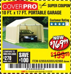Harbor Freight Coupon COVERPRO 10 FT. X 17 FT. PORTABLE GARAGE Lot No. 62859, 63055, 62860 Expired: 11/10/18 - $169.99