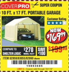 Harbor Freight Coupon COVERPRO 10 FT. X 17 FT. PORTABLE GARAGE Lot No. 62859, 63055, 62860 Expired: 10/1/18 - $169.99