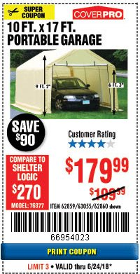 Harbor Freight Coupon COVERPRO 10 FT. X 17 FT. PORTABLE GARAGE Lot No. 62859, 63055, 62860 Expired: 6/24/18 - $179.99