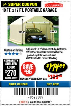 Harbor Freight Coupon COVERPRO 10 FT. X 17 FT. PORTABLE GARAGE Lot No. 62859, 63055, 62860 Expired: 8/31/18 - $174.99