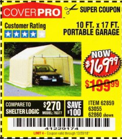 Harbor Freight Coupon COVERPRO 10 FT. X 17 FT. PORTABLE GARAGE Lot No. 62859, 63055, 62860 Expired: 12/20/18 - $169.99