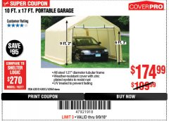 Harbor Freight Coupon COVERPRO 10 FT. X 17 FT. PORTABLE GARAGE Lot No. 62859, 63055, 62860 Expired: 9/9/18 - $174.99