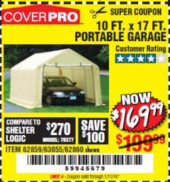 Harbor Freight Coupon COVERPRO 10 FT. X 17 FT. PORTABLE GARAGE Lot No. 62859, 63055, 62860 Expired: 1/11/19 - $169.99