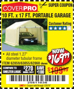 Harbor Freight Coupon COVERPRO 10 FT. X 17 FT. PORTABLE GARAGE Lot No. 62859, 63055, 62860 Expired: 1/20/19 - $169.99