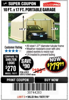 Harbor Freight Coupon COVERPRO 10 FT. X 17 FT. PORTABLE GARAGE Lot No. 62859, 63055, 62860 Expired: 10/31/18 - $179.99
