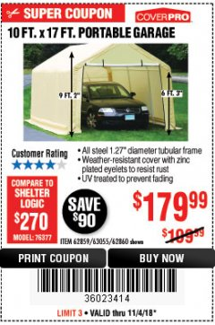 Harbor Freight Coupon COVERPRO 10 FT. X 17 FT. PORTABLE GARAGE Lot No. 62859, 63055, 62860 Expired: 11/4/18 - $179.99