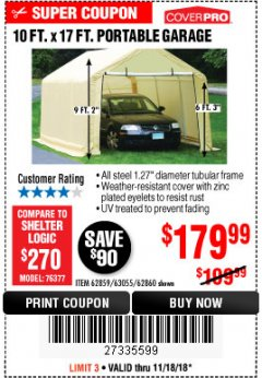 Harbor Freight Coupon COVERPRO 10 FT. X 17 FT. PORTABLE GARAGE Lot No. 62859, 63055, 62860 Expired: 11/18/18 - $179.99