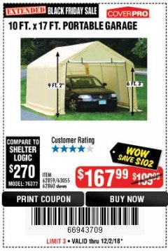 Harbor Freight Coupon COVERPRO 10 FT. X 17 FT. PORTABLE GARAGE Lot No. 62859, 63055, 62860 Expired: 12/2/18 - $167.99
