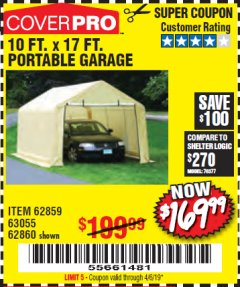 Harbor Freight Coupon COVERPRO 10 FT. X 17 FT. PORTABLE GARAGE Lot No. 62859, 63055, 62860 Expired: 4/6/19 - $169.99
