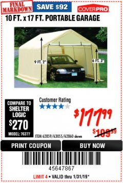 Harbor Freight Coupon COVERPRO 10 FT. X 17 FT. PORTABLE GARAGE Lot No. 62859, 63055, 62860 Expired: 1/31/19 - $177.99