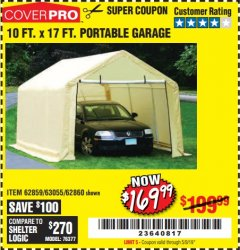 Harbor Freight Coupon COVERPRO 10 FT. X 17 FT. PORTABLE GARAGE Lot No. 62859, 63055, 62860 Expired: 5/9/19 - $169.99