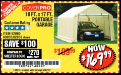Harbor Freight Coupon COVERPRO 10 FT. X 17 FT. PORTABLE GARAGE Lot No. 62859, 63055, 62860 Expired: 3/30/19 - $169.99