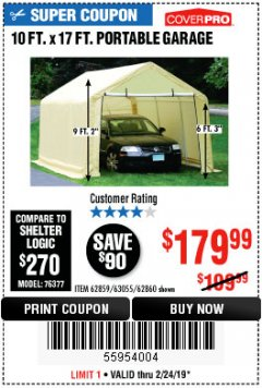 Harbor Freight Coupon COVERPRO 10 FT. X 17 FT. PORTABLE GARAGE Lot No. 62859, 63055, 62860 Expired: 2/24/19 - $179.99