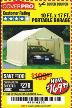 Harbor Freight Coupon COVERPRO 10 FT. X 17 FT. PORTABLE GARAGE Lot No. 62859, 63055, 62860 Expired: 6/15/19 - $169.99