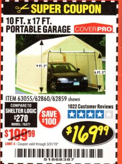 Harbor Freight Coupon COVERPRO 10 FT. X 17 FT. PORTABLE GARAGE Lot No. 62859, 63055, 62860 Expired: 3/31/19 - $169.99